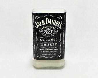 Jack Daniels Bottle Candle - Old No 7 Tennessee Whiskey - Empty Cut Liquor Bottle - Scented Soy Wax - Gift - Man Cave