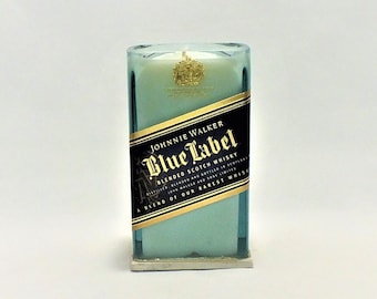 Johnnie Walker Blue Label Candle - Scented Soy Wax Candle - Scotch Whisky - Empty Cut Liquor Bottle -  Gift - Rarest Whiskies