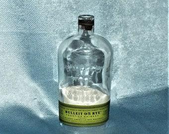 Bulleit Rye Cut Bottle Hanging Light - lamp - Cut Liquor Bottles - Chandelier