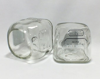 Patron Glass (1) - Tequila 100% de Agave - Cut Bottle - Rocks Glasses - Drinking Glasses - Upcycled Glasses