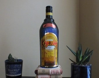 Khalua empty Liquor bottle lamp 16 Color Changing light RGB LED Remote Controlled - Bar Light - Glass Bottle -