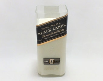 Johnnie Walker Black Label Bottle Candle - 12 Year Old Scotch Whisky - Empty Cut Liquor Bottle - Scented Soy Wax - Gift -
