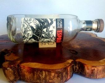 Espolon Tequila Blanco Liquor Bottle cut lengthwise / crafts / serving dish / Planter / Indoor Plants / Succulent Glass Terrarium