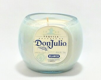 Don Julio Blanco Bottle Candle - Tequila Silver - Scented Soy Wax - Empty Cut Liquor - Gift - Man Cave - Mexico - Agave