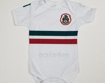 b6978647e Mexico Baby Jersey, Mexico Soccer Team, Mexico White Jersey, Baby Bodysuit,  2018-2019 Away Mexico Jersey