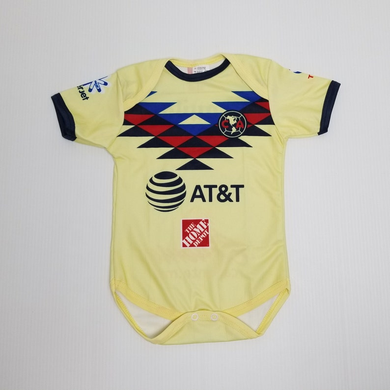 hot sale online 1fe8b 63a8a Club America Baby Jersey, Home 2019-2020 Club America Jersey, Liga MX, Baby  Bodysuit, Yellow America Jersey