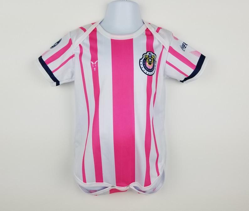 huge selection of 1ce7e 6298b Chivas Baby Jersey, Girl's Soccer Jersey, Pink Baby Girl Bodysuit, Chivas  de Guadalajara 2018 Home Jersey