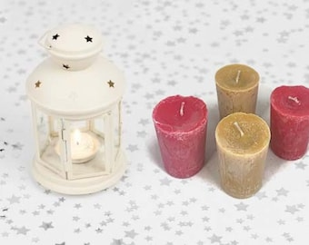 Soy Wax Votives,  4 Votives in a Gift Box with Ribbon, Aromatic Votives, Hand Poured, Small Candle, Colorful Votives, Set of Votives