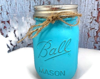 8 and 16 Ounce Mason Jar Candles, Soy Candle, Handmade, Hand Painted Mason Jar, Garden Gift, Birthday Gift, Farm Candle