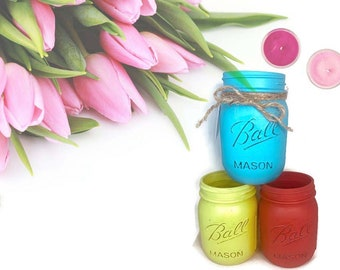 Hand Painted 16 Ounce Mason Jar Vase, Colored Vases, Flower Vase, Farm Vase, Outdoor Vase,Modern Vase, Containers