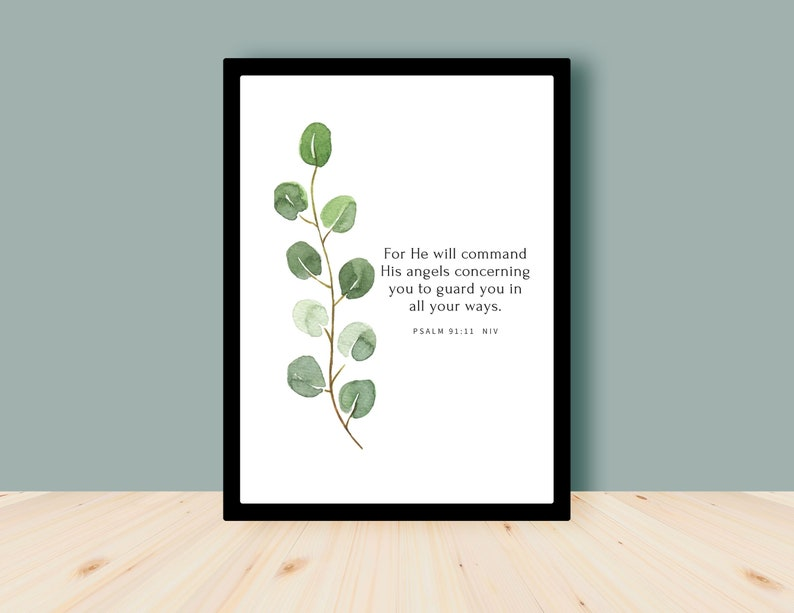 He will command His angels  Psalm 91:11 Bible Verse Wall Art image 0