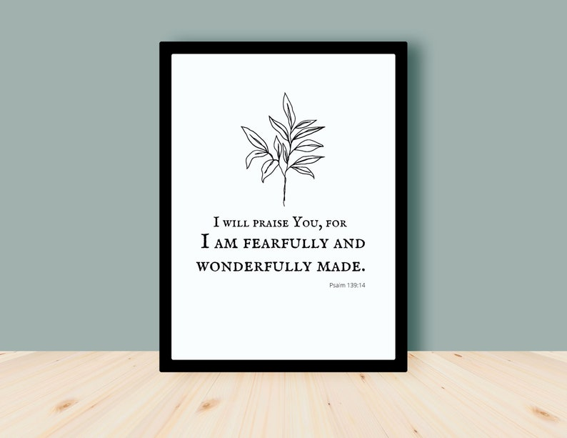 Fearfully and wonderfully made Psalm 139:14 Bible Verse Wall image 0
