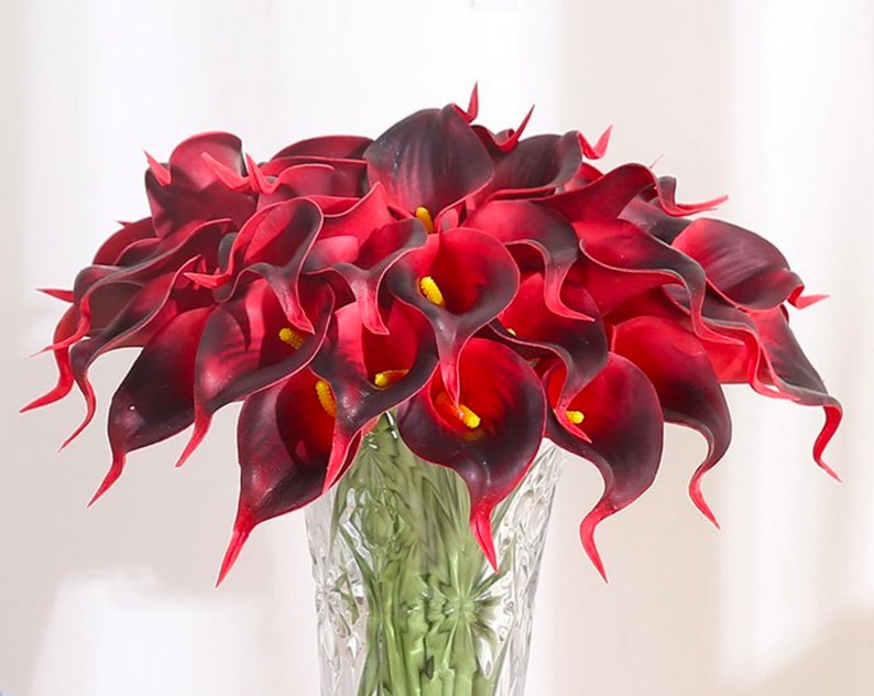 Set Of 20 Artificial Calla Lily Stems Deep Red Real Touch Etsy