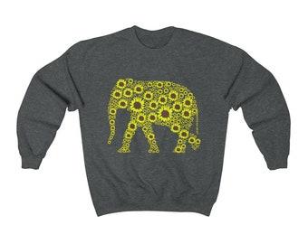 f19a5ae27ae6 Elephant Sunflowers Crewneck Sweatshirt Sweater
