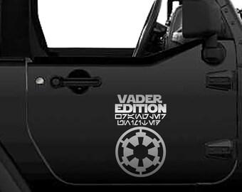 Jeep Vader Edition Wrangler Unlimited Vinyl Decal Sticker | Vader Edition Tumbler Decals | Star Wars Vader Edition Laptop Vinyl Decal