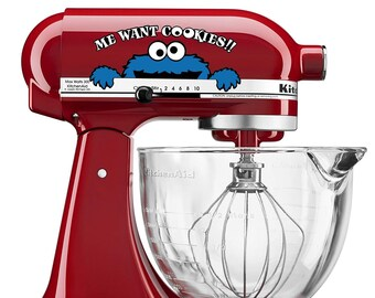 Me Want Cookies!! decal for Kitchen Aid Mixer | Sesame Street Cookie Monster Vinyl Decal