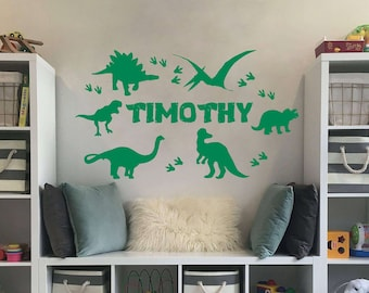 Personalized Dinosaur T-Rex Custom Name Wall Decal Vinyl Decal Home Nursery Boy Kids Wall Art Interior Decor Mural