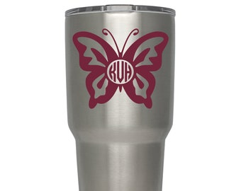 Butterfly Monogram Decal | Butterfly Car Window Decal | Custom Butterfly Tumbler Decal | Personalized 3 letter monogram