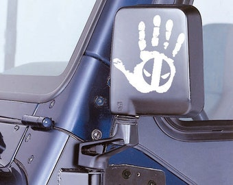 Jeep Wave With Deadpool Eyes Ver 1 Decal - Jeep Hand Decal Jeep Sticker - Jeep Sticker - Jeep Wrangler Wave Truck Automotive Decals