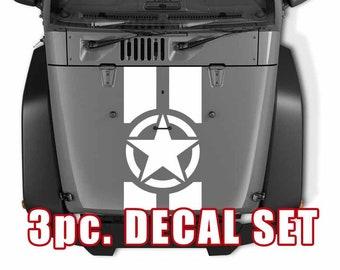 Jeep Wrangler Blackout Hood Decal 3 Piece Sticker Kit - US Army Military Oscar Mike Star Design