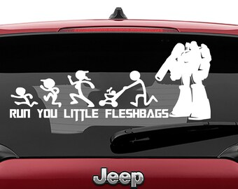 Transformers Inspired Megatron Run You Little Fleshbags Stick Figure Family Vinyl Decal