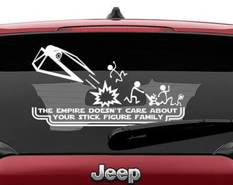 Star Wars Inspired Tie Striker The Empire Doesn't Care About Your Stick Figure Family Vinyl Decal