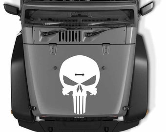 Jeep Wrangler Punisher Skull Die Cut Vinyl Decal   Punisher Skull Hood Vinyl Decal   Punisher Skull Vinyl Decal