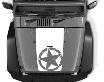 Jeep Wrangler Blackout Distressed Oscar Mike Military Star Hood Vinyl Decal