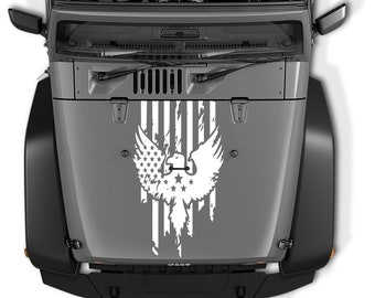 Jeep Wrangler Distressed American Flag with Eagle Die Cut Vinyl Decal   Distressed American Flag & Eagle Blackout Hood Vinyl Decal