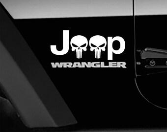 Punisher Skull Fender Side Decal Jeep Wrangler TJ Sticker 1 pair