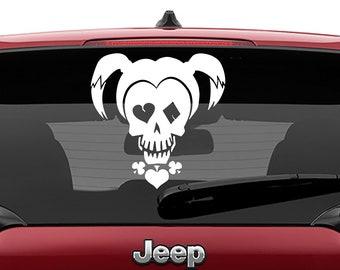 Harley Quinn Suicide Squad Skull Vinyl Decal | Squad Skull Tumbler Decals | Squad Skull Harley Logo Laptop Decal