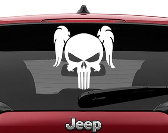 Jeep Wrangler Female Pigtail Punisher Skull Die Cut Vinyl Decal   Pigtail Punisher Skull Hood Vinyl Decal   Punisher Skull Vinyl Decal