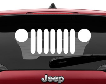 Jeep Wrangler TJ, LJ, JK, Logo Decal | Jeep Wrangler Grill Logo Tumbler Decals | Jeep Wrangler Grill Logo Laptop Vinyl Decal