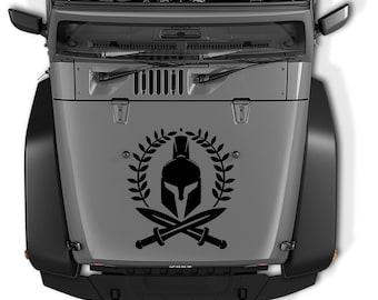 Jeep Wrangler Spartan Warrior  Hood Vinyl Decal | Molon Labe Spartan Helmet Vinyl Decal