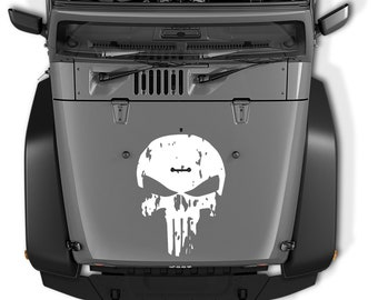 Jeep Wrangler Distressed Punisher Skull Die Cut Vinyl Decal | Distressed Punisher Skull Hood Vinyl Decal