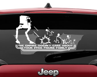 Star Wars Inspired At-St The Empire Doesn't Care About Your Stick Figure Family Vinyl Decal