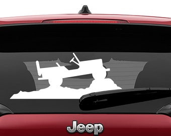 Jeep Cherokee Willys Center Windshield Vinyl Decal | Jeep Willys Climbing Mountain Tumbler Decals | Jeep Willys Laptop Vinyl Decal