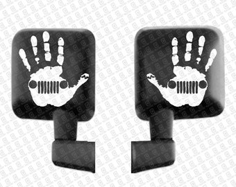 Set of 2 Jeep Wave Hand Vinyl Decal Sticker Left and Right for Jeep Wrangler Rubicon Renegade Mirror Window Accessory