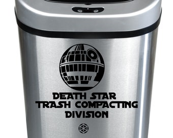 Star Wars Inspired Death Star Trash Compacting Division Trash Can Vinyl Decal