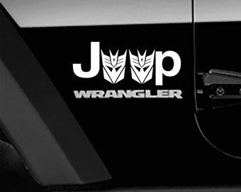 Transformers Decepticon Logo Fender Side Decal Jeep Wrangler TJ Sticker 1 pair