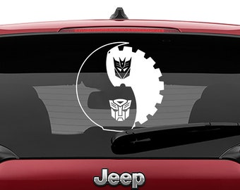 Transformers Autobot Decepticon Yin Yang Vinyl Decal | Transformers Yin Yang Tumbler Decal | Autobot Decepticon Yin Yang Laptop Decal