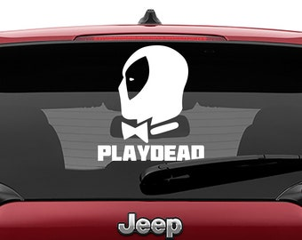 Deadpool Playboy Decal | Deadpool Playdead Tumbler Vinyl Decals | Playdead Deadpool Laptop Vinyl Decals