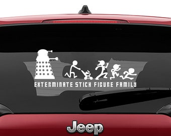 Dr Who Inspired The Daleks Will Exterminate Your Stick Figure Family Vinyl Decal