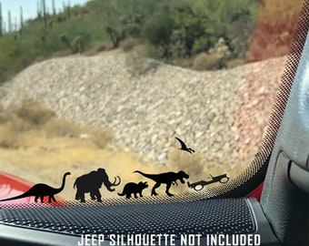 Jurassic World Jeep Wrangler Vinyl Decal Jeep Wrangler Accessories Jeep Wrangler Dinosours Family Car Decal Jeep Stickers and Decals