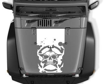 Jeep Wrangler Blackout Oscar Mike Skull Star Hood Vinyl Decal