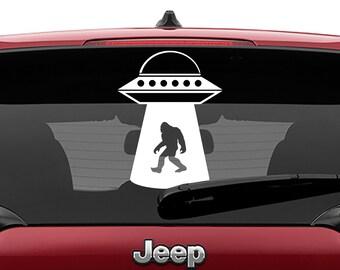 UFO Sasquatch Vinyl Decal | Flying Saucer Big Foot Tumbler Decal | U.F.O Big Foot Laptop Decal