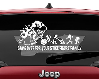 Mario Bros Inspired Bowser Game Over For Your Stick Figure Family Vinyl Decal