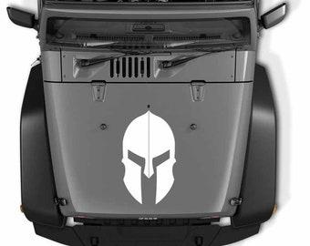 Jeep Wrangler Spartan Helmet Hood Vinyl Decal   Molon Labe Spartan Helmet Vinyl Decal
