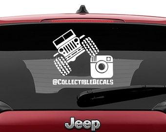 Personalized Instagram Handle Jeep Vinyl Decal   Personalized Instagram Jeep Tumbler Decals   Personalized Instagram Jeep Laptop  Decal