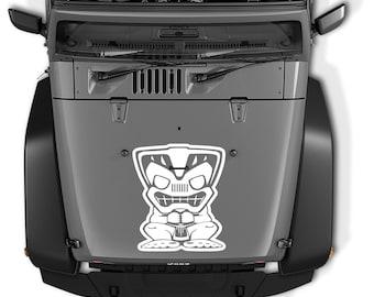 Jeep Wrangler Tiki Bob Hood Vinyl Decal   Jeep Tiki Bob Tumbler Decal   Jeep Tiki Bob Laptop Decal